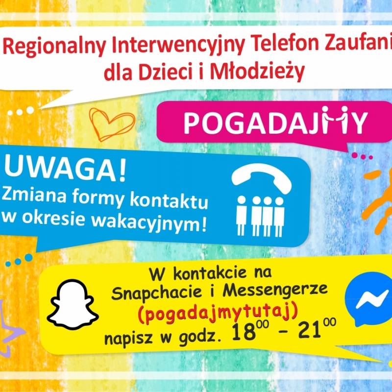 Zmiana Regionalnego Interwencyjnego Telefonu Zaufaniadla Dzieci i Młodzieży.