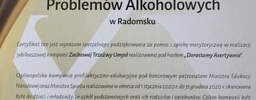 Złoty Certyfikat dla Miejskiej Komisji Rozwiązywania Problemów Alkoholowych w Radomsku